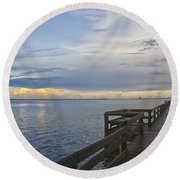 Cape Kennedy At Sunset Round Beach Towel