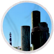 Cape Lookout Dock Round Beach Towel