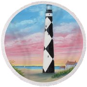 Cape Lookout Sunset Round Beach Towel