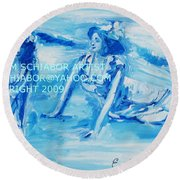 Cape May Bathing Beauty Round Beach Towel