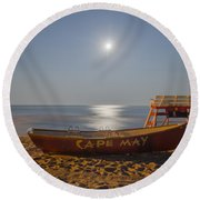 Cape May By Moonlight Round Beach Towel