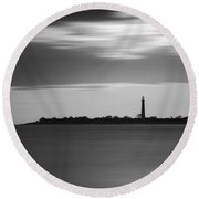 Cape May Lighthouse Long Exposure Bw Round Beach Towel