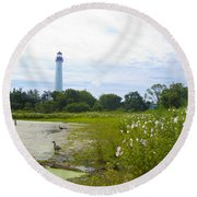 Cape May Lighthouse - New Jersey Round Beach Towel