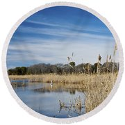 Cape May Marshes Round Beach Towel