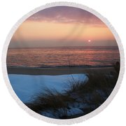 Cape May Twilight In February Round Beach Towel