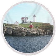 Cape Neddick Light On A Misty Morning Round Beach Towel