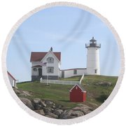 Cape Neddick Lighthouse - Me Round Beach Towel