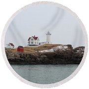 Cape Neddick - Nubble Light 2 Round Beach Towel