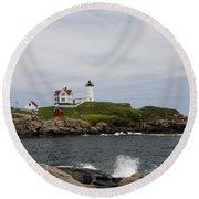 Cape Neddick - Nubble Lighthouse Round Beach Towel