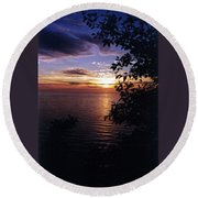 Cape Perpetua Sunset Round Beach Towel
