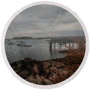 Cape Porpoise Fog Rolls In Round Beach Towel