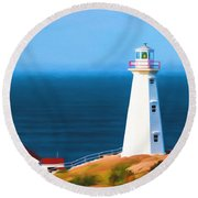 Cape Spear Lighthouse Round Beach Towel