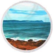 Cape Spear Shoreline Round Beach Towel