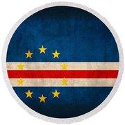 Cape Verde Flag Vintage Distressed Finish Round Beach Towel