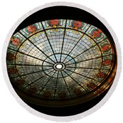 Capital Building Stained Glass 2 Round Beach Towel