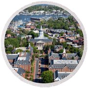 Capital Of Maryland In Annapolis Round Beach Towel