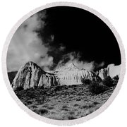 Capital Reef National Park In Black And White  Round Beach Towel