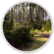 Capitol Forest Logging Road Round Beach Towel