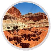 Capitol Reef Twin Towers Round Beach Towel