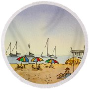Capitola - California Sketchbook Project  Round Beach Towel by Irina Sztukowski