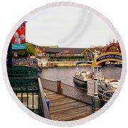 Cap'n Jacks Marina Harbor Walt Disney World Round Beach Towel