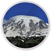 Capped Rainier Up Close Round Beach Towel
