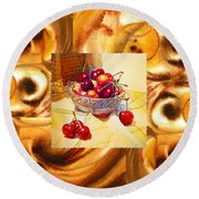 Cappuccino Abstract Collage Cherries Round Beach Towel