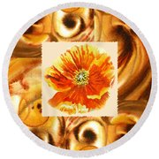 Cappuccino Abstract Collage Poppy Round Beach Towel