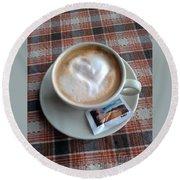 Cappuccino Love Round Beach Towel