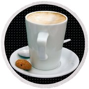 Cappuccino With An Amaretti Biscuit Round Beach Towel