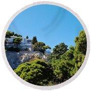 Capri's Gardens Round Beach Towel