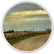 Caprock Canyon-country Road Round Beach Towel