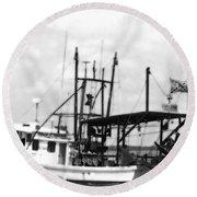 Capt. Jamie - Shrimp Boat - Bw 02 Round Beach Towel