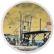 Capt. Jamie - Shrimp Boat - Photopower 01 Round Beach Towel
