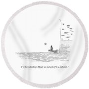 Captain Ahab Rows A Small Boat Right Up To Moby Round Beach Towel by Mick Stevens