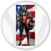 Captain America In Front Of Old Glory Round Beach Towel