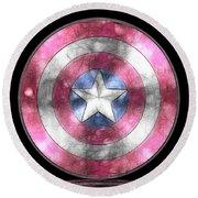Captain America Shield Digital Painting Round Beach Towel