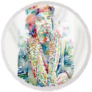 Captain Beefheart Watercolor Portrait.2 Round Beach Towel by Fabrizio Cassetta