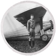 Captain Charles Lindbergh Round Beach Towel