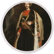 Captain Colin Mackenzie In His Afghan Round Beach Towel by James Sant