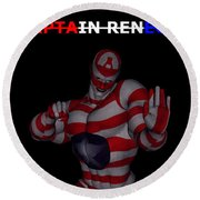 Captain Renegade Super Hero Combating Crime Round Beach Towel