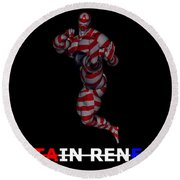 Captain Renegade Super Hero Jumping Karate Kick Round Beach Towel