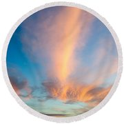 Captivating Clouds Round Beach Towel