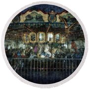 Captive On The Carousel Of Time Round Beach Towel