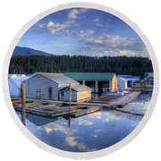 Bayview Marina 2 Round Beach Towel