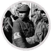 Captured Chinese Soldier Round Beach Towel