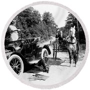 Car And Carriage, 1914 Round Beach Towel