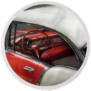 Car - Classic 50's  Round Beach Towel by Mike Savad