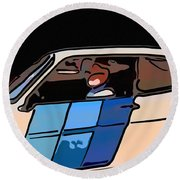 Car Driving By Round Beach Towel
