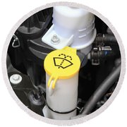 Car Engine Details Round Beach Towel